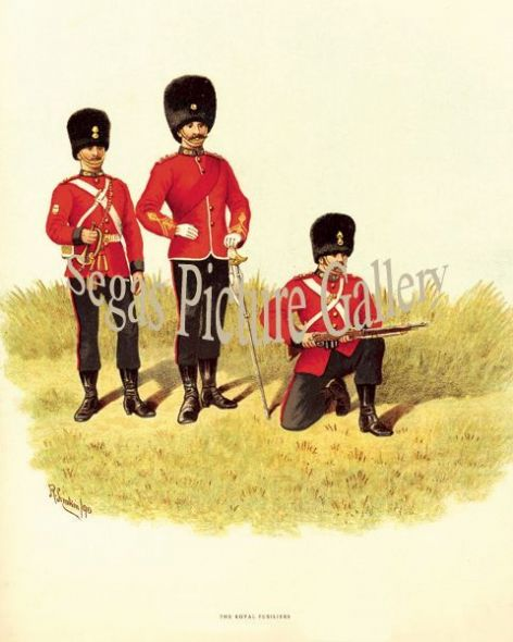 Fine art print of the British Military of The Royal Fusiliers by Richard Simkin